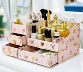大號化妝品收納盒桌面整理抽屜儲物梳妝臺護膚品口紅木質置物架子igo