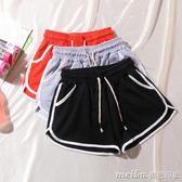 運動短褲女夏學生跑步休閒高腰繫帶闊腿熱褲寬鬆大碼胖mm家居睡褲 美芭
