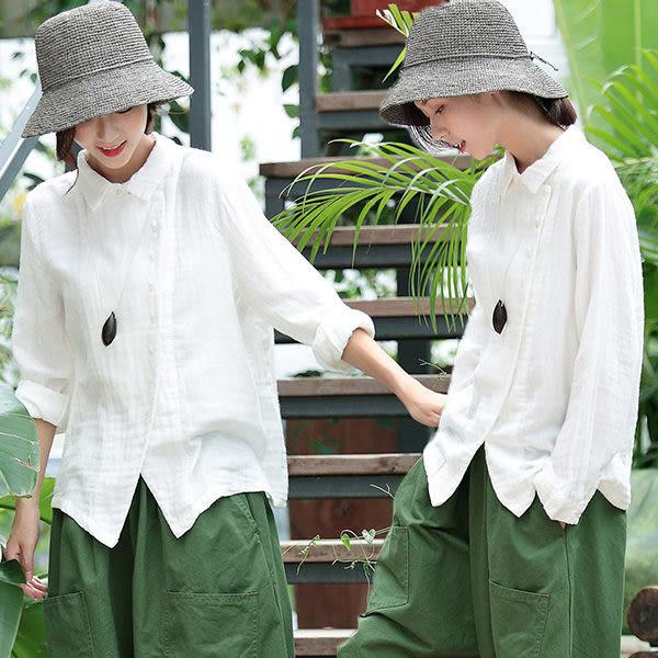 白色不對稱棉麻上衣