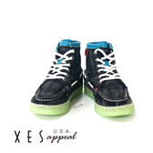 XES 女鞋 高筒休閒鞋 復古刷色 個性時尚休閒鞋 個性黑