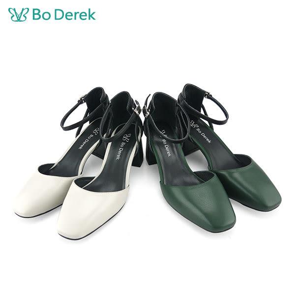 【Bo Derek 】綁帶繫踝粗跟包鞋-灰白色
