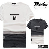 『潮段班』【SD036002】L-XL胸前英文字母印花立體M字樣短袖上衣T恤