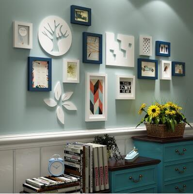 客廳臥室照片牆相框組合創意家居實木相片牆簡約歐式美式掛牆裝潢