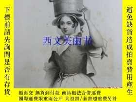 二手書博民逛書店【罕見】《 THE MILK MAID 》1850 鋼版畫 Wi