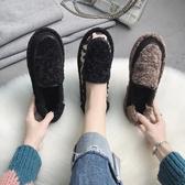 棉瓢鞋女冬加絨羊羔毛豆豆鞋一腳蹬2019新款百搭女鞋厚底加厚鞋子