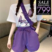 克妹Ke-Mei【ZT60802】KOREA韓國蝶蝶印花T恤+包包+花苞短褲套裝
