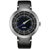 【台南 時代鐘錶 ODM】ONE 單針系列 羅盤風格創意設計腕錶 DD169-01 皮帶 黑  44mm