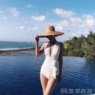 Swimming網紅赫本風溫泉度假復古ins白色連體泳衣女小胸歐美綁帶