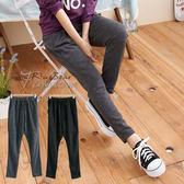 長褲--嘻哈氣息雙口袋膝蓋壓摺抽繩長褲(黑.灰M-2L)-P45眼圈熊中大尺碼