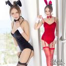天使波堤【LD0408-1】純色月兔連身衣制服角色扮演比基尼死庫水護士服馬甲-黑色紅色(共二色)