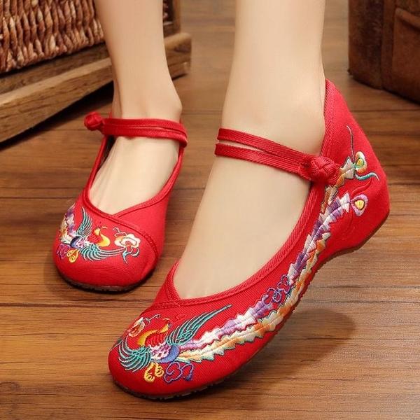 繡花鞋-族韻老北京布鞋女款繡花鳳凰鞋 牛筋底內增高單鞋厚底楔形廣場舞女鞋