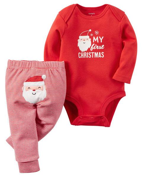 【美國Carter's】套裝二件組 - 歡樂耶誕長袖包屁衣+耶誕老公公條紋長褲 119G104