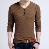 秋季薄款韓版男裝v領男士長袖T恤修身 純色大碼套頭針織打底衫潮『小淇嚴選』