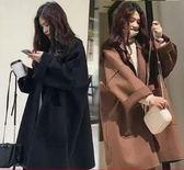 中長款外套大衣S-4XL大碼女裝寬鬆廓形毛呢外套女胖MM中長款大碼繭型呢子大衣425-A1-8881