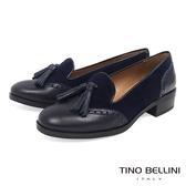 Tino Bellini 西班牙真皮雕花流蘇低跟樂福鞋_藍 TF4211C 歐洲進口款