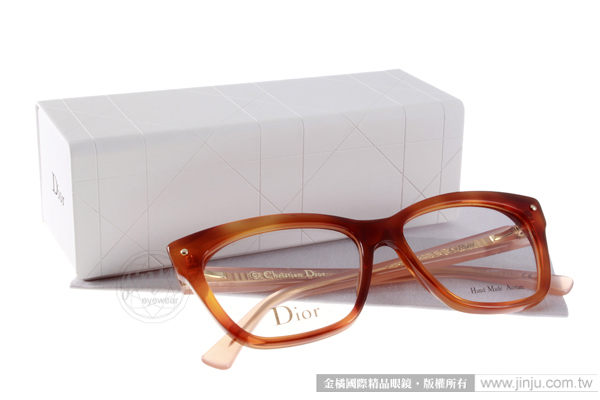Dior 光學眼鏡 CD3269 3JY (琥珀霧粉紅) 摩登貓眼系列 平光鏡框# 金橘眼鏡