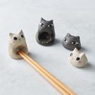 日本美濃燒 - 陶製手作筷架 - 貓咪就座-白