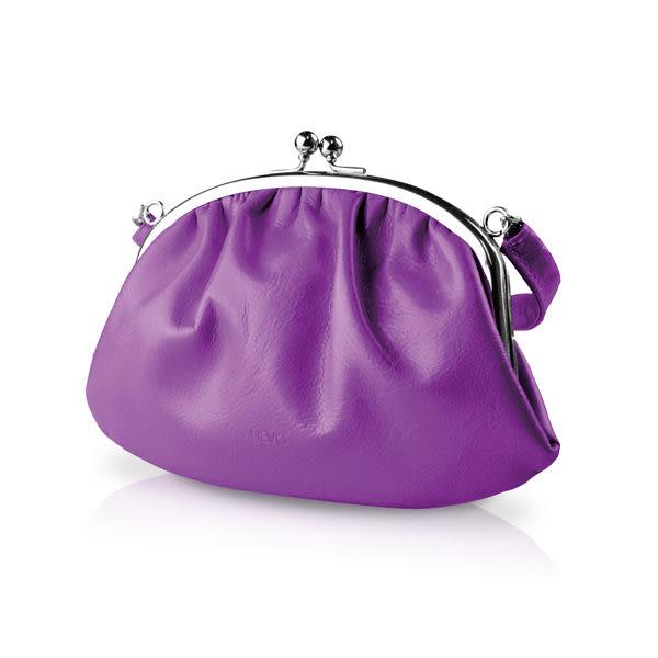 【LIEVO】 SMILE - 真皮手提口金包_深紫紅(iPhone 5 / 4吋螢幕以下手機皆適用) 情人節禮物