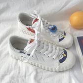 低筒鞋芝麻街小白帆布鞋女夏季新款網紅韓版學生百搭泫雅風夏款潮鞋 新品特賣