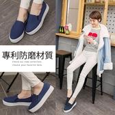 Ann'S進化2.0!韓國絨足弓墊腳顯瘦厚底懶人鞋-深藍
