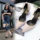 鞋子女韓版百搭絨面尖頭鞋一字扣單鞋粗跟涼鞋女鞋高跟鞋 名購居家