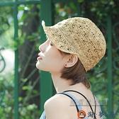 草帽手工編織鴨舌帽可愛馬術帽出游可折疊帽子【淘夢屋】