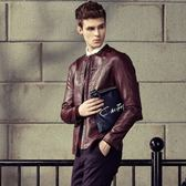 皮衣外套-歐美風格簡約率性男夾克外套2色72c14[巴黎精品]