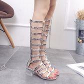 涼靴長筒粗跟靴2018新款女夏涼鞋露趾綁帶長靴水晶跟時尚中跟女靴「時尚彩虹屋」