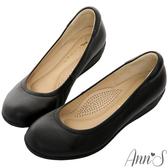 Ann'S奔跑彈力款全真羊皮楔型包鞋-黑