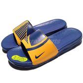 Nike 拖鞋 Benassi Solarsoft NBA 藍 黃 勇士隊 極軟好穿 涼拖鞋 男鞋 女鞋【PUMP306】 917551-701