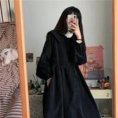 長袖洋裝春季新款娃娃領連衣裙女學生韓版寬松百搭顯瘦中長款燈《朵拉朵》