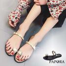 PAPORA珍珠夾腳涼拖鞋KP722黑/...