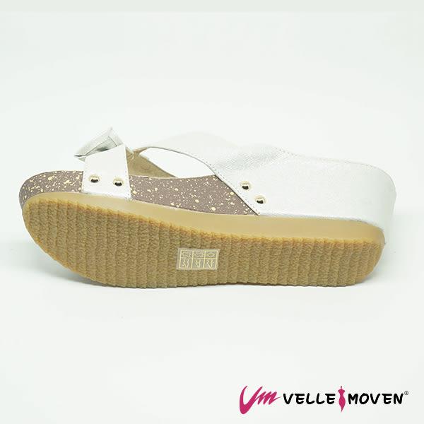 羊皮 人字拖 楔型拖 夏日時尚奢華 女鞋拖 VelleMoven MIT製 _奢華銀