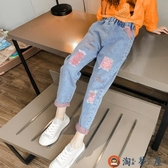 女童牛仔褲兒童洋氣牛仔長褲彈力寬鬆褲子【淘夢屋】
