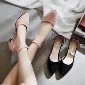 涼鞋 春季新款粗跟尖頭涼鞋百搭學生軟妹歐洲站單鞋溫柔風女鞋