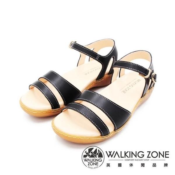 【南紡購物中心】WALKING ZONE(女)MIT真皮手工車縫厚底涼鞋 女鞋-黑(另有棕)