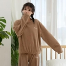 情侶睡衣 冬季加絨加厚法蘭絨睡衣女保暖可愛珊瑚絨加大碼睡衣套裝女【快速出貨八折鉅惠】