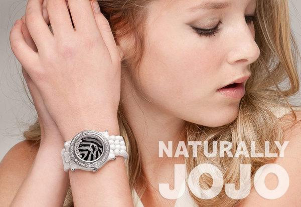 NATURALLY JOJO率性節奏晶鑽白陶瓷時尚腕錶-斑馬紋/33mm
