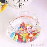 迷你小型桌面花邊缸辦公室金魚缸水培綠蘿超白玻璃圓形花邊造景缸YYP 伊鞋本鋪