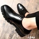 韓版皮鞋男潮流青年學生休閒內增高英倫松糕鞋厚底尖頭發型師男鞋 金曼麗莎