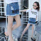 女童短褲 潮流童裝2018夏裝新韓版女童破洞字母牛仔短褲外穿中大兒童熱褲子 芭蕾朵朵