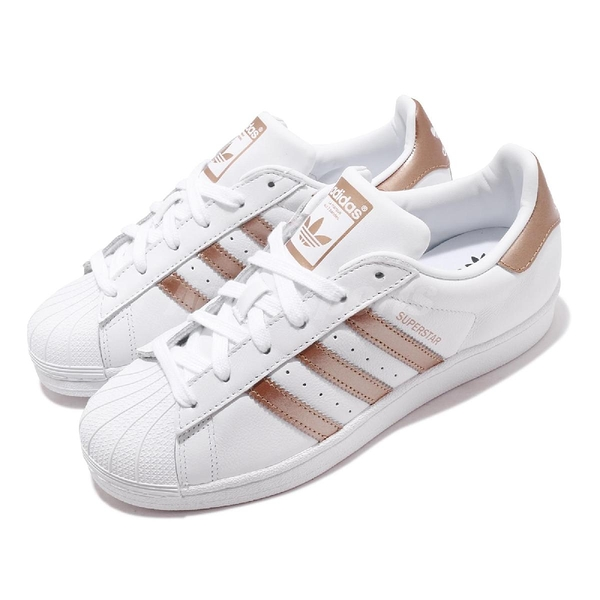adidas 休閒鞋 Superstar W 白 金 玫瑰金 女鞋 小白鞋 貝殼頭 百搭款 運動鞋 【ACS】 EE7399