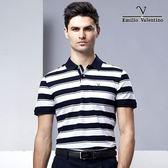 Emilio Valentino 美國休閒風橫條紋 - 藍白條紋