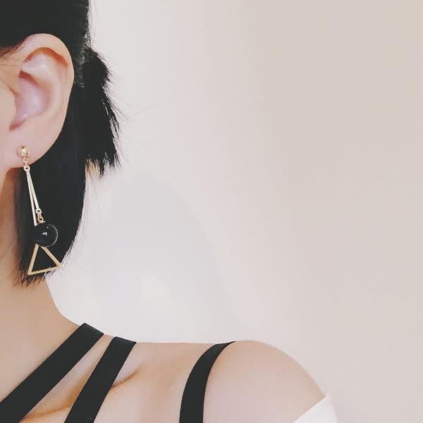 耳環 韓系小清新幾何鏤空三角圓珠流蘇垂墜式耳環【1DDE0641】