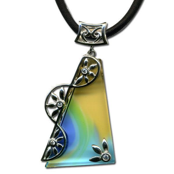 鹿港窯~開運古法水晶琉璃銀飾項鍊~浪花一朵朵◆ 附精美包裝◆免運費送到家
