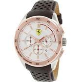 FERRARI Formula Italia 奢華經典計時三眼金框銀面皮帶腕錶/0830190