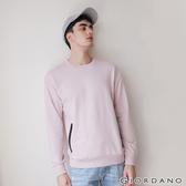 【GIORDANO】 男裝雙拉鍊口袋大學T恤-04 紫羅蘭