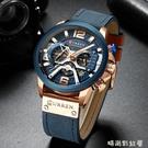 手錶多指針個性男錶美式大盤防水軍錶男8329「時尚彩紅屋」