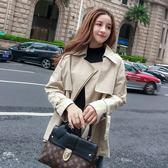冬裝女2019新款chic休閒韓版小個子卡其色lulu風衣短款百搭短外套