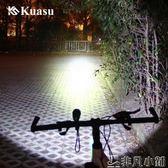 單車配件 夜騎自行車燈前燈強光燈調焦遠射山地車充電手電筒單車配件    非凡小鋪